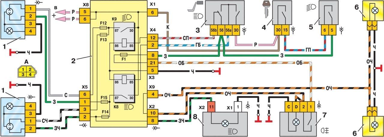 Рис. 1 Схема включения фар и