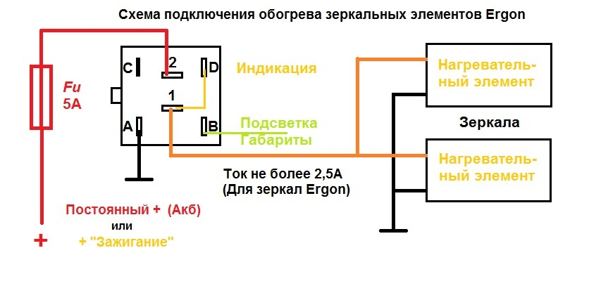 Схема подключения обогрева