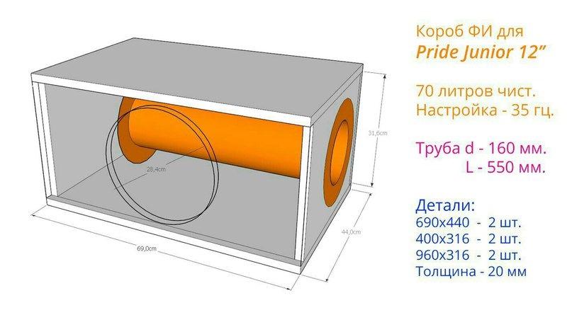 Как сделать короб для сабвуфера 12 на трубе