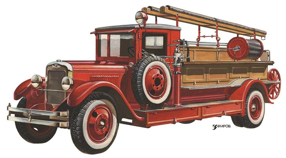 время картинка старинных пожарных машин рисования