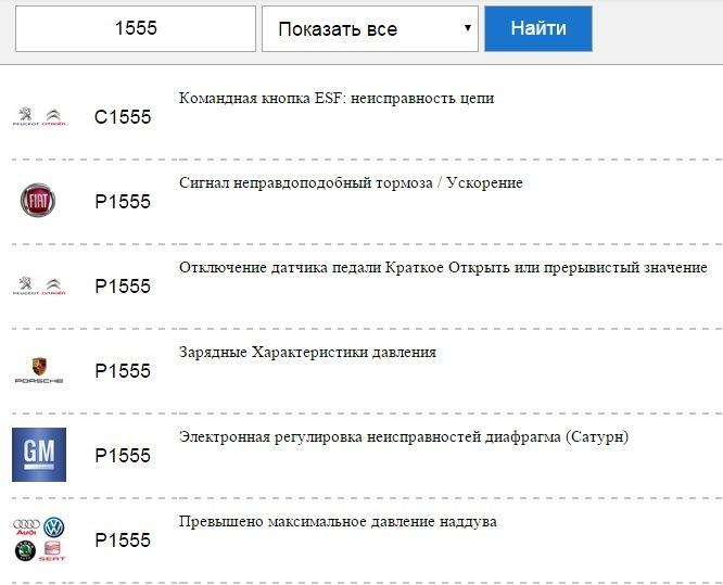 ошибка c1555 honda