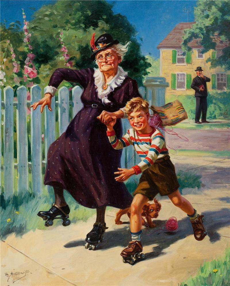 Картинки смешные бабушка и внучек, для открытки картинки