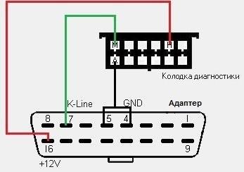 схема переходника GM 12 — OBD 2