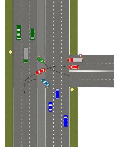 и поворот на перекрестке.