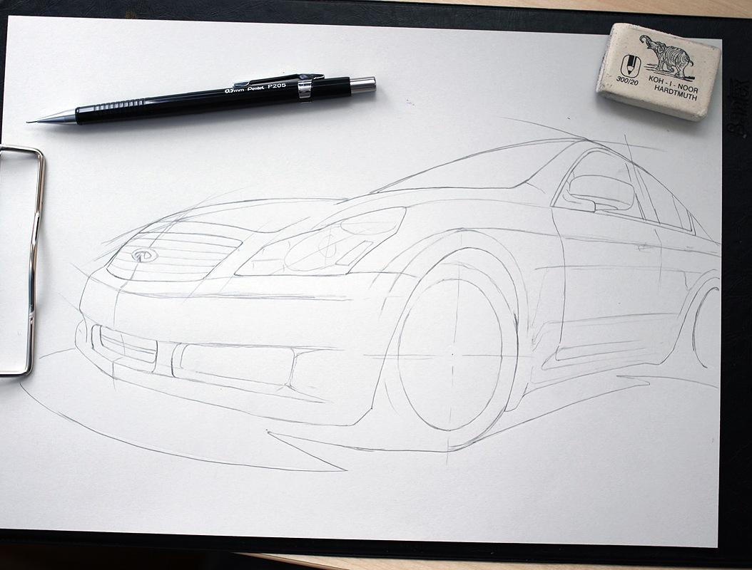 рисунки карандашом машинки: