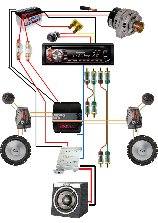 Схема подключения автомобильного конденсатора а усилителю
