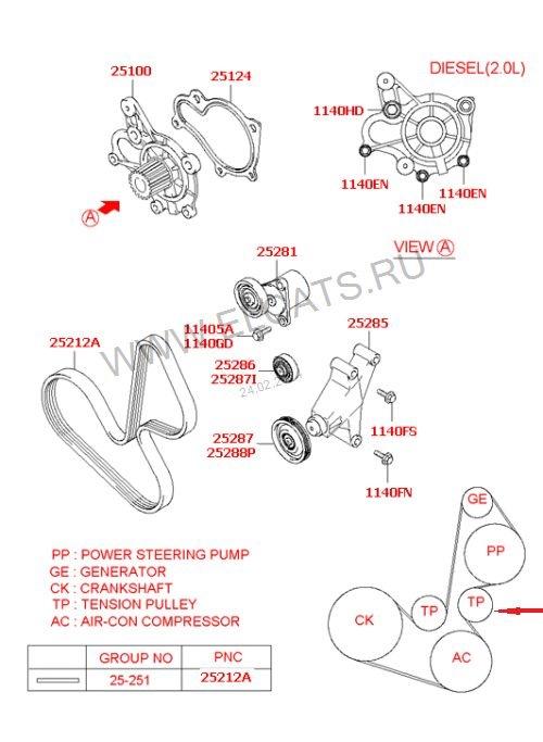 Схема ремня хендай санта фе 211