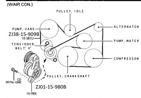 Ремень генератора мазда 3 схема