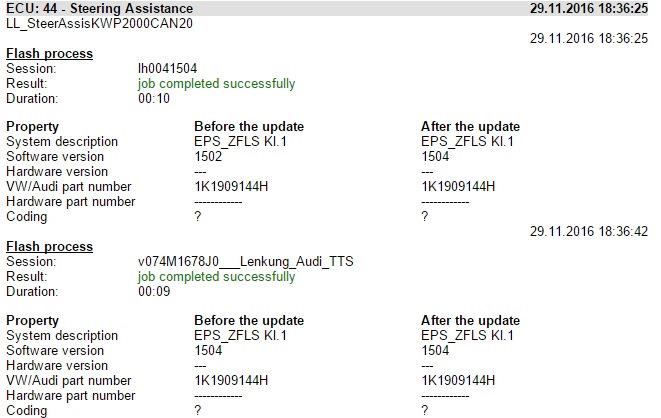прошивки 1K1909144H 1504 и характеристики от Audi TTS