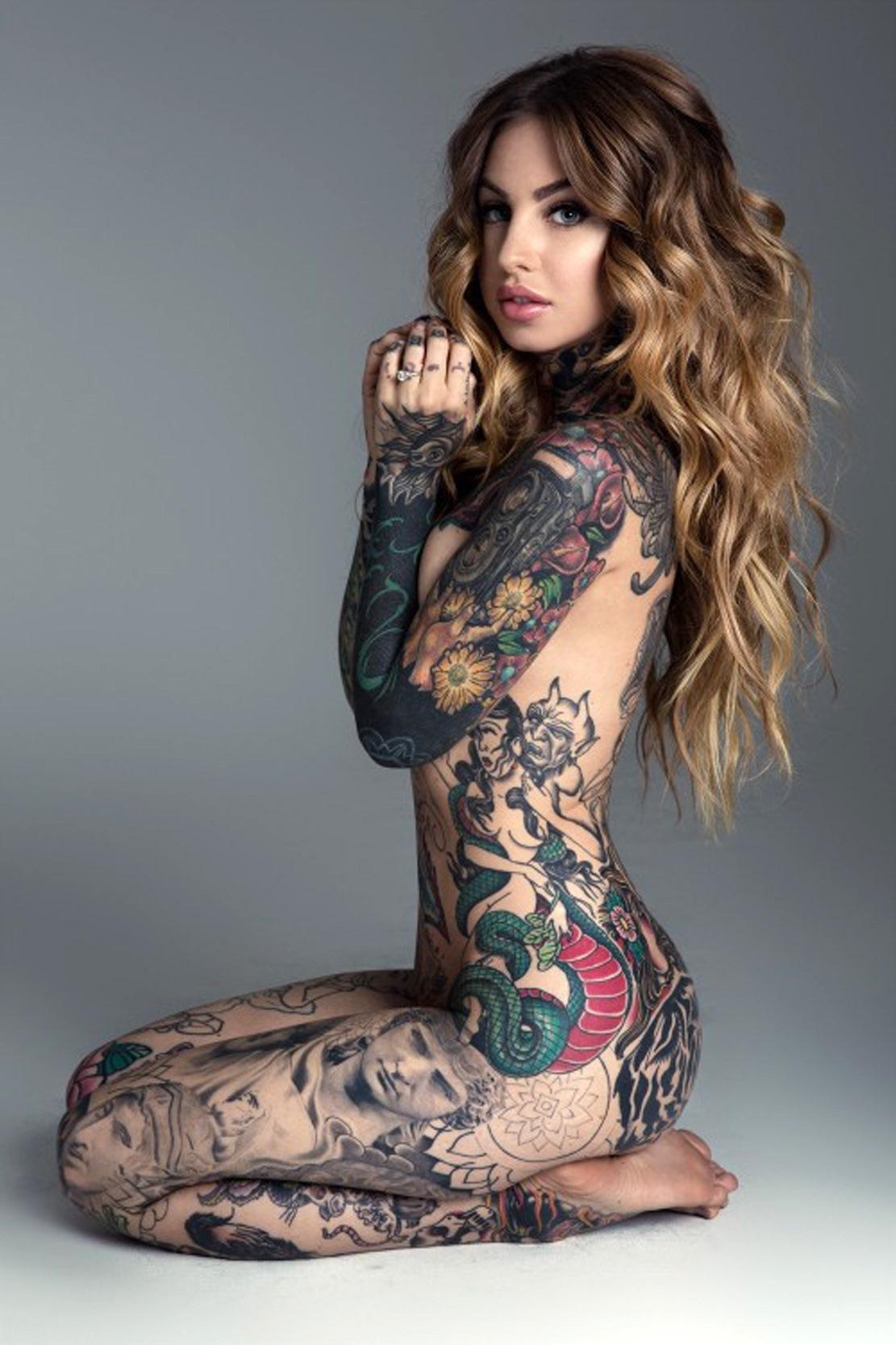Sexy naked girl tattoo bike lady