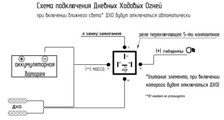 Схеме подключения дхо на ваз 2110