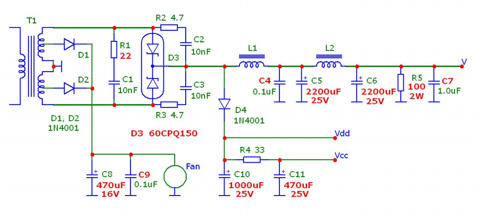 Как сделать выпрямитель на 12 вольт схема