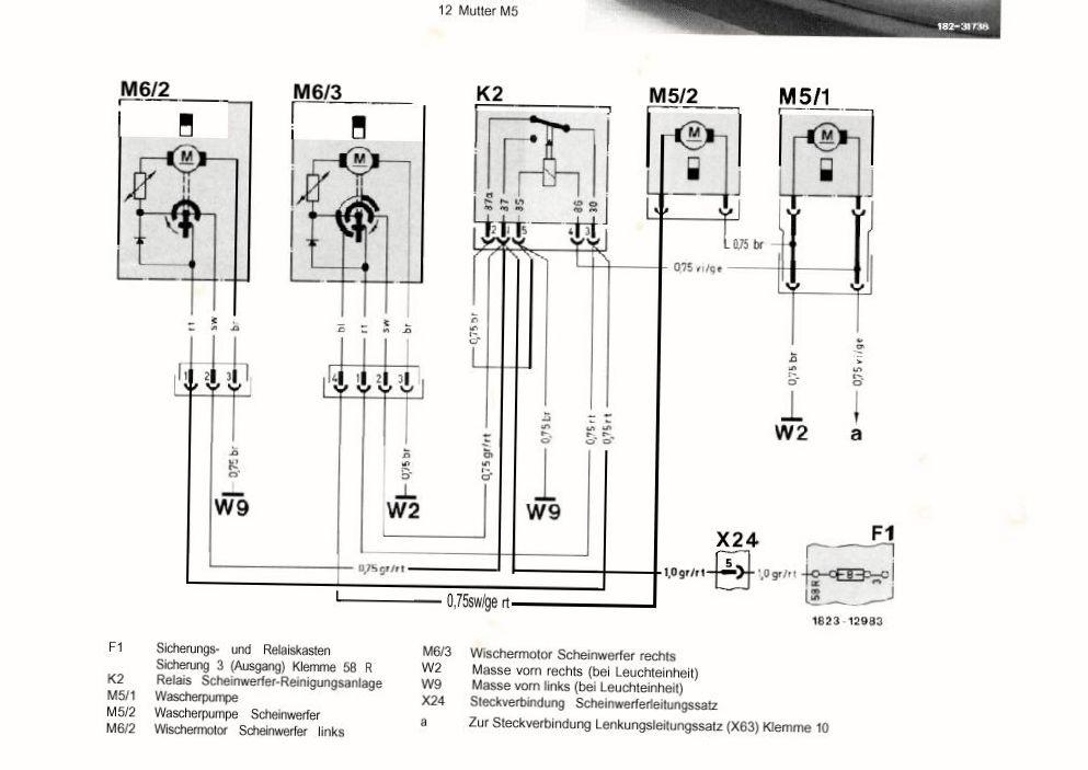 Омыватель переднего стекла на Mercedes E-Class ( Схема омывателя мерседес w124