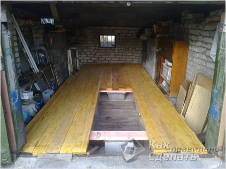 Деревянный пол гаража своими руками