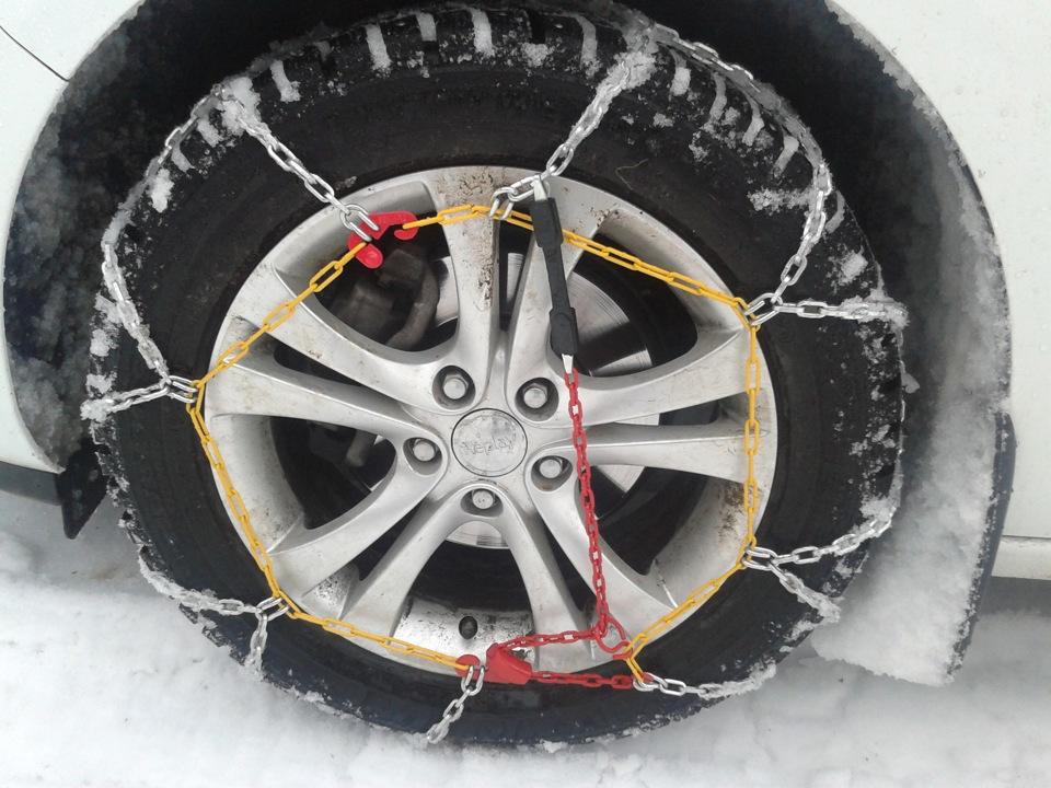 Как надеть цепи на колеса