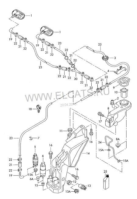 Схема подключения бачка омывателя 73