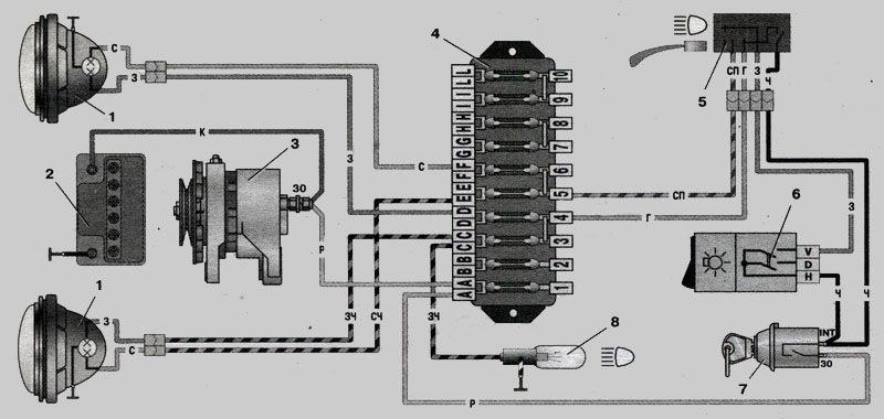 Схема електрики к 2101