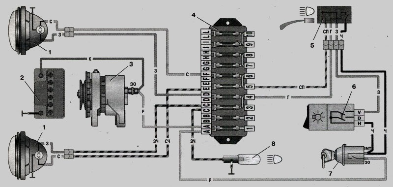 Схема включения фар 1 — фары;