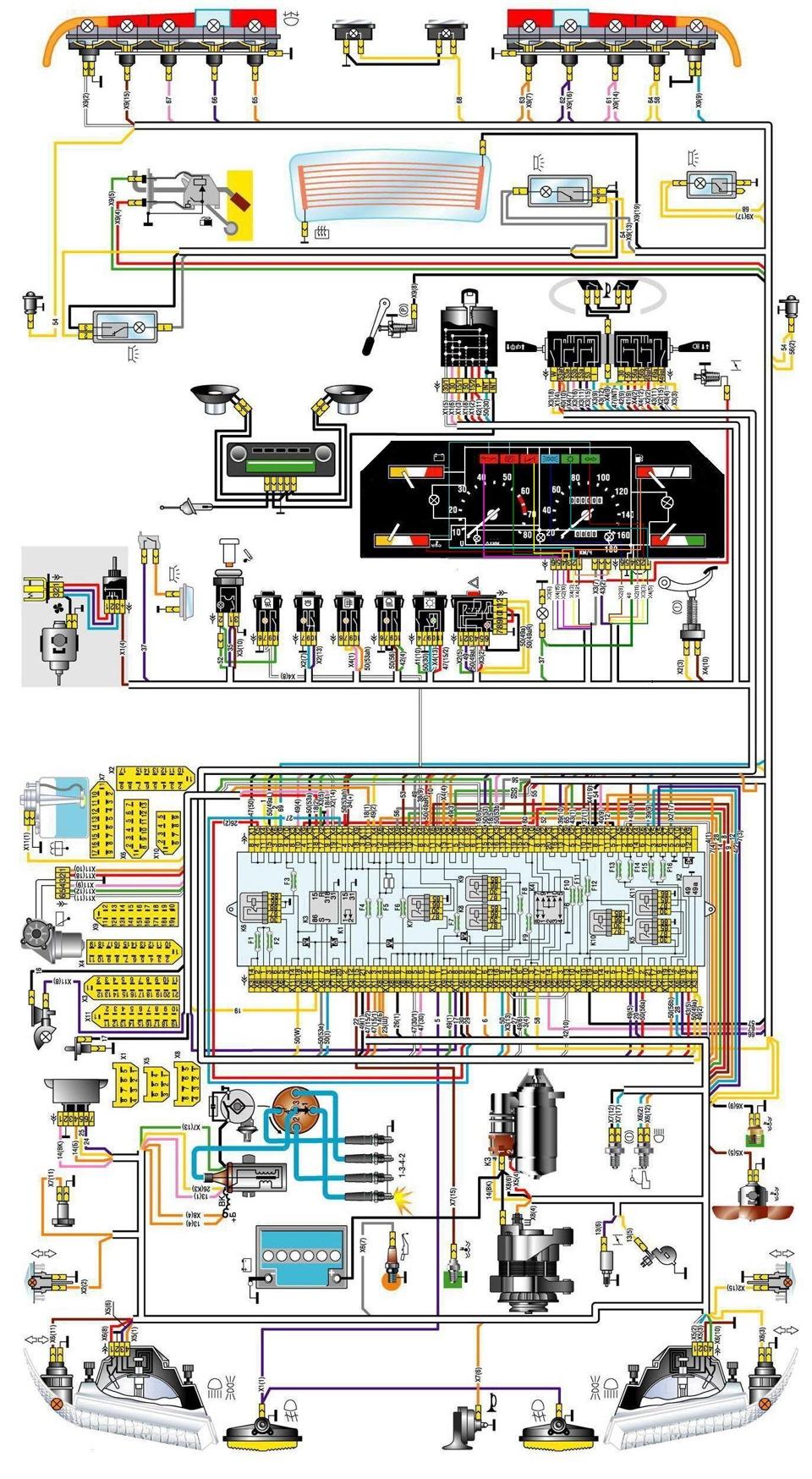 Схема проводки 2141 с двигателем 2106