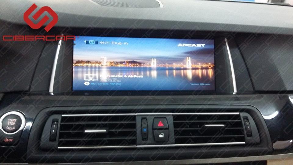 Зеркальное отображение смартфона i-Connect на экране автомобиля BMW F10 525D xDrive.