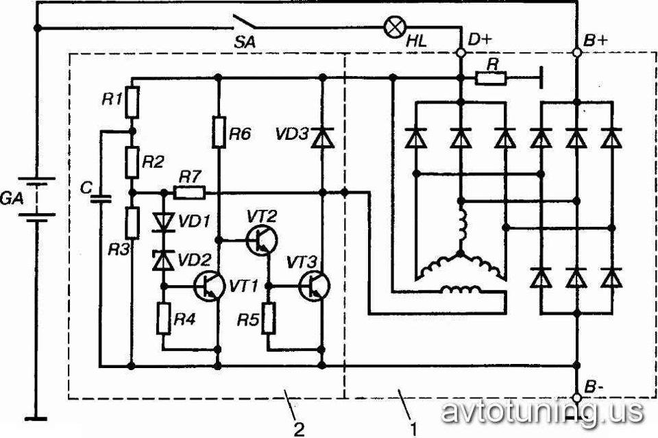 Схема подключения розетки со светодиодом