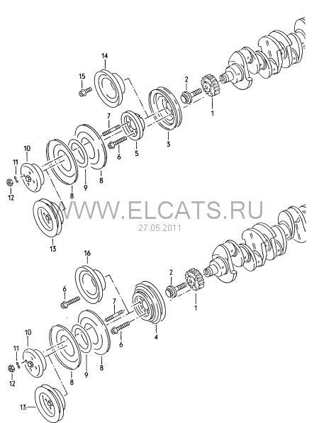 Схема установки шкивов Audi 80
