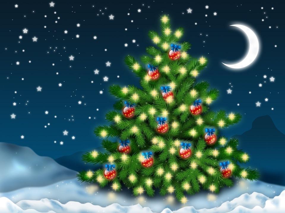 Открытка с новым годом с елкой, юбилей образец анимация
