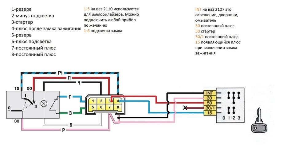 Замок зажигания ваз 2105 схема подключения проводов.
