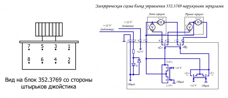 Схема джойстика зеркал