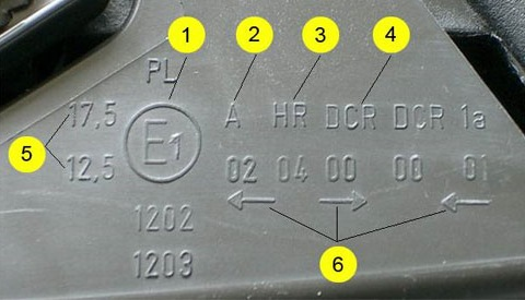 маркировка фар под ксенон опель корса d