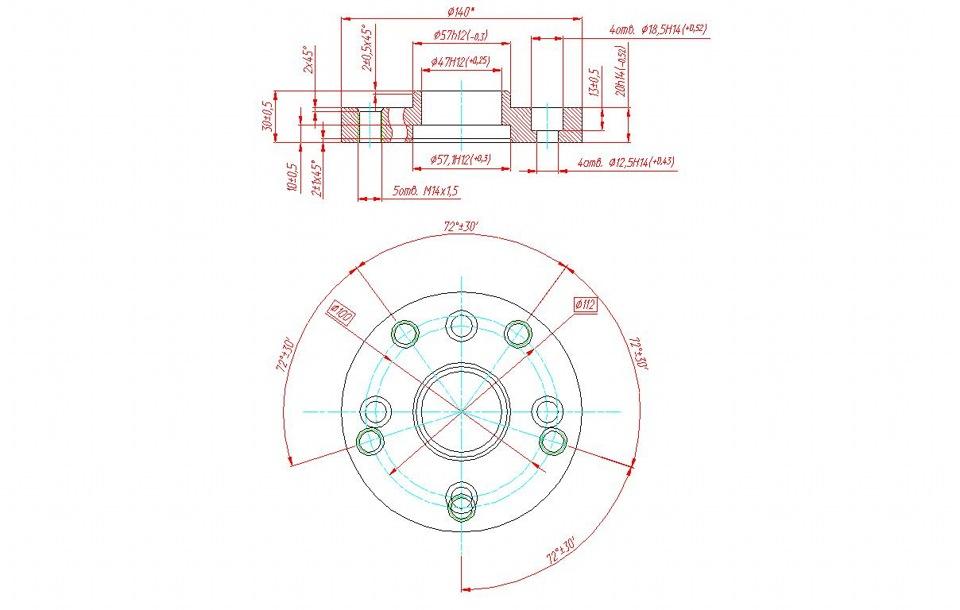 чертеж проставок на мерседес 5 112