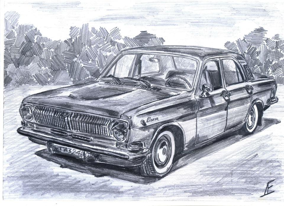 Картинки автомобили в карандаше