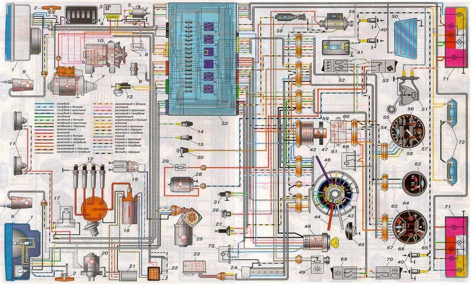 Схема электропроводки ваз 2118 сигнализация.