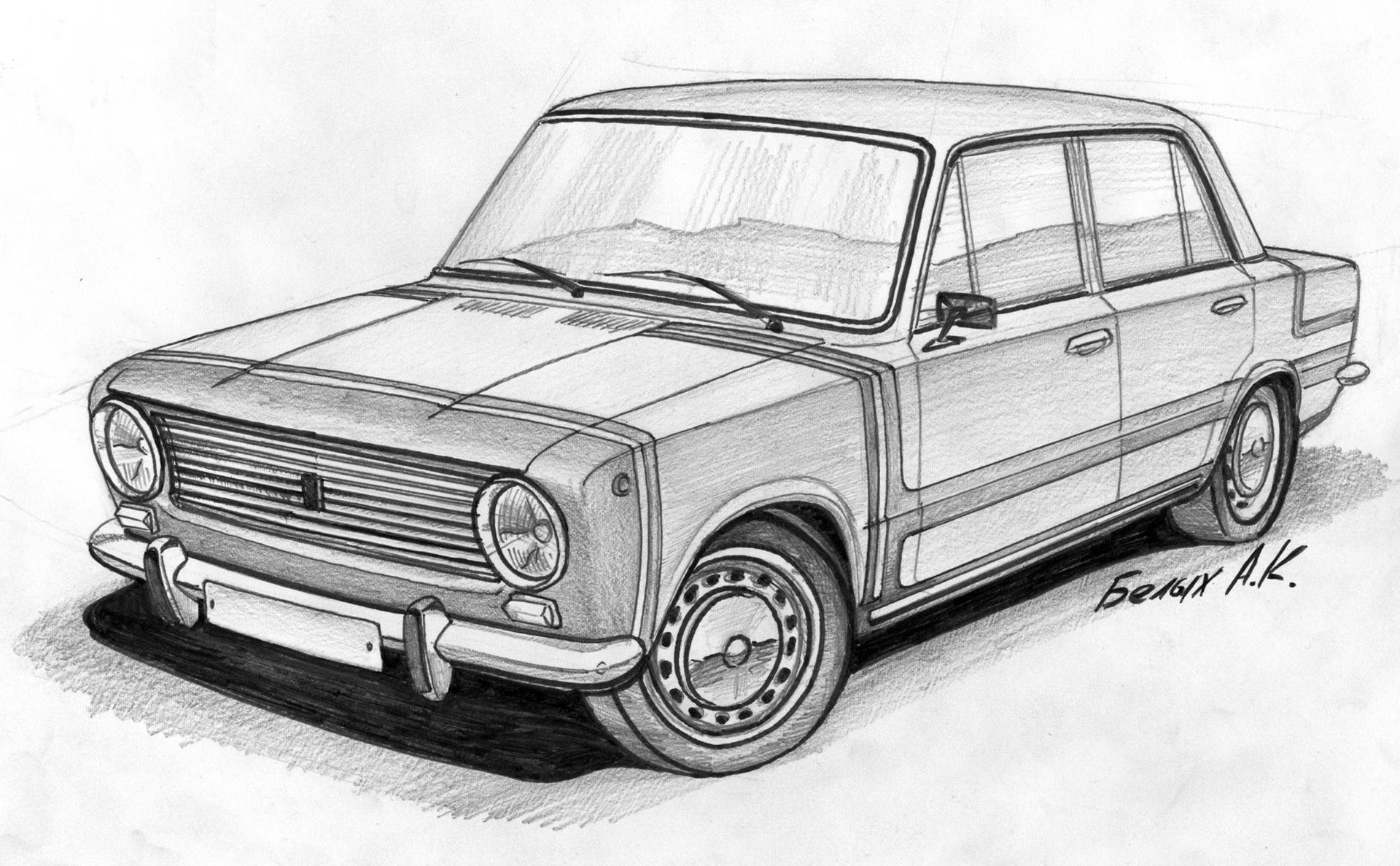 достаточно картинки карандашом наши русские машины общем отдых