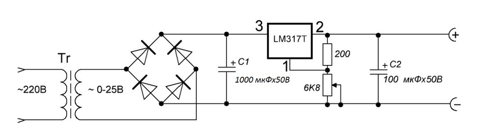 Простой лабораторный блок питания на lm317 схема