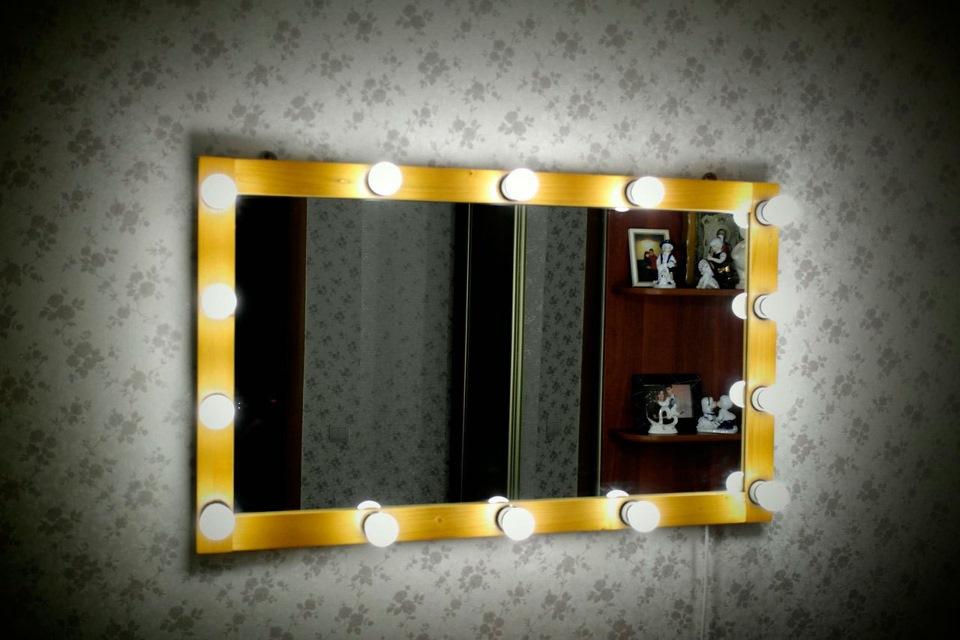 Гримерное зеркало с подсветкой своими руками 94