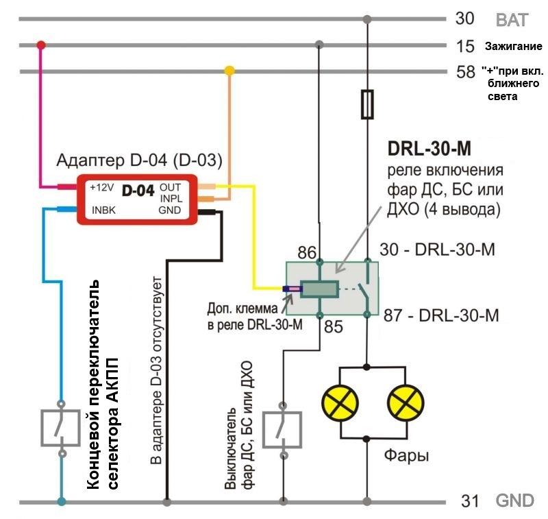 Схема соединения адаптера D-04