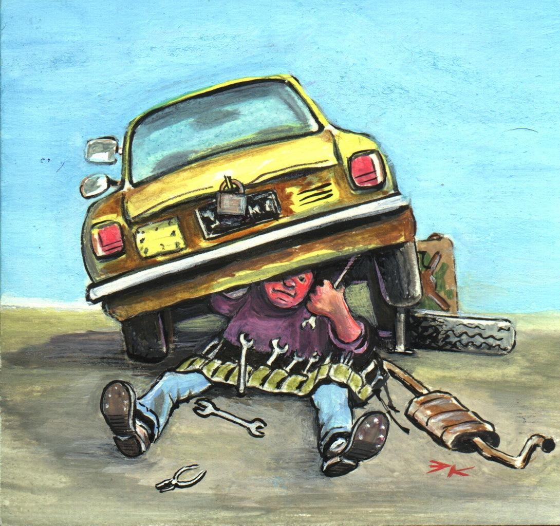 России, автомобили ремонт прикольные картинки