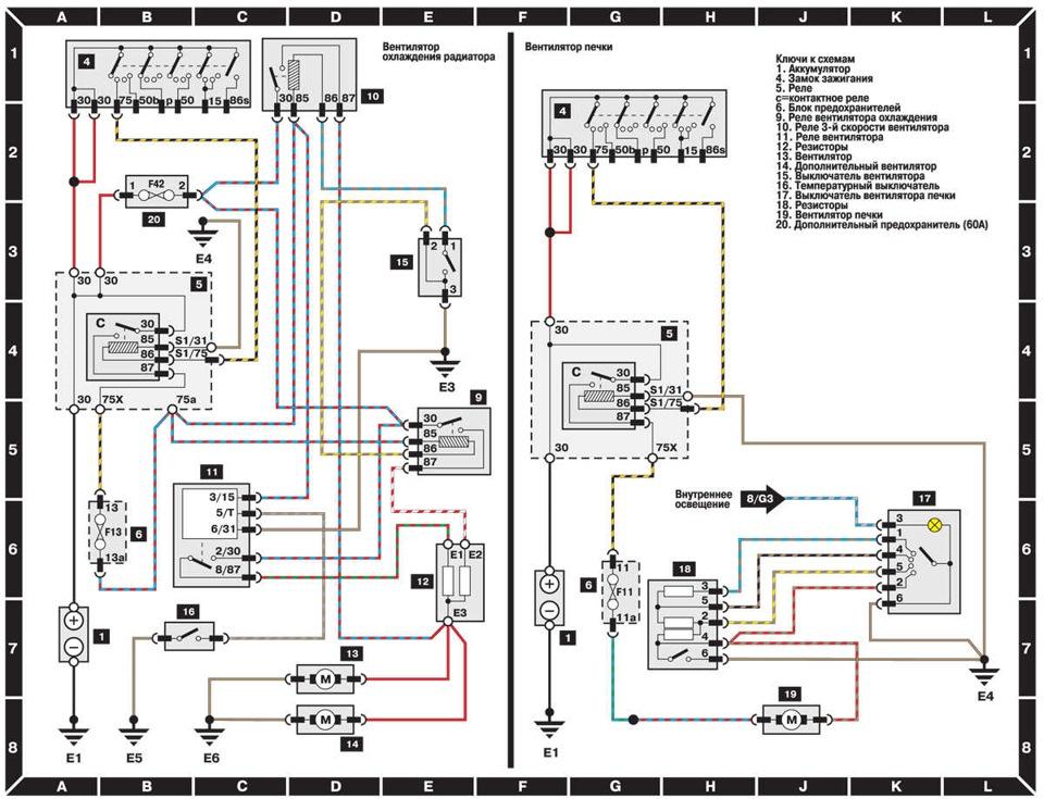 Схема работы вентиляторов