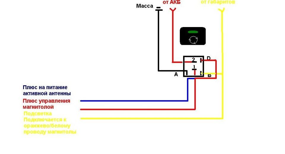 Схема кнопки рециркуляции
