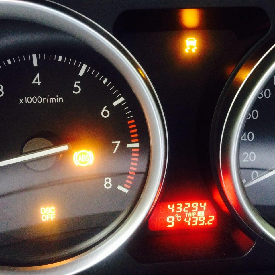 mazda 6 на скорости 40 км загорается абс dsc