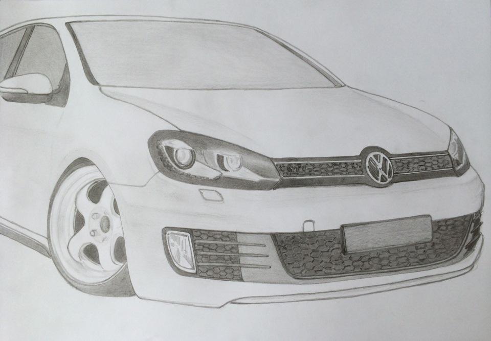 как нарисовать volkswagen golf карандашом