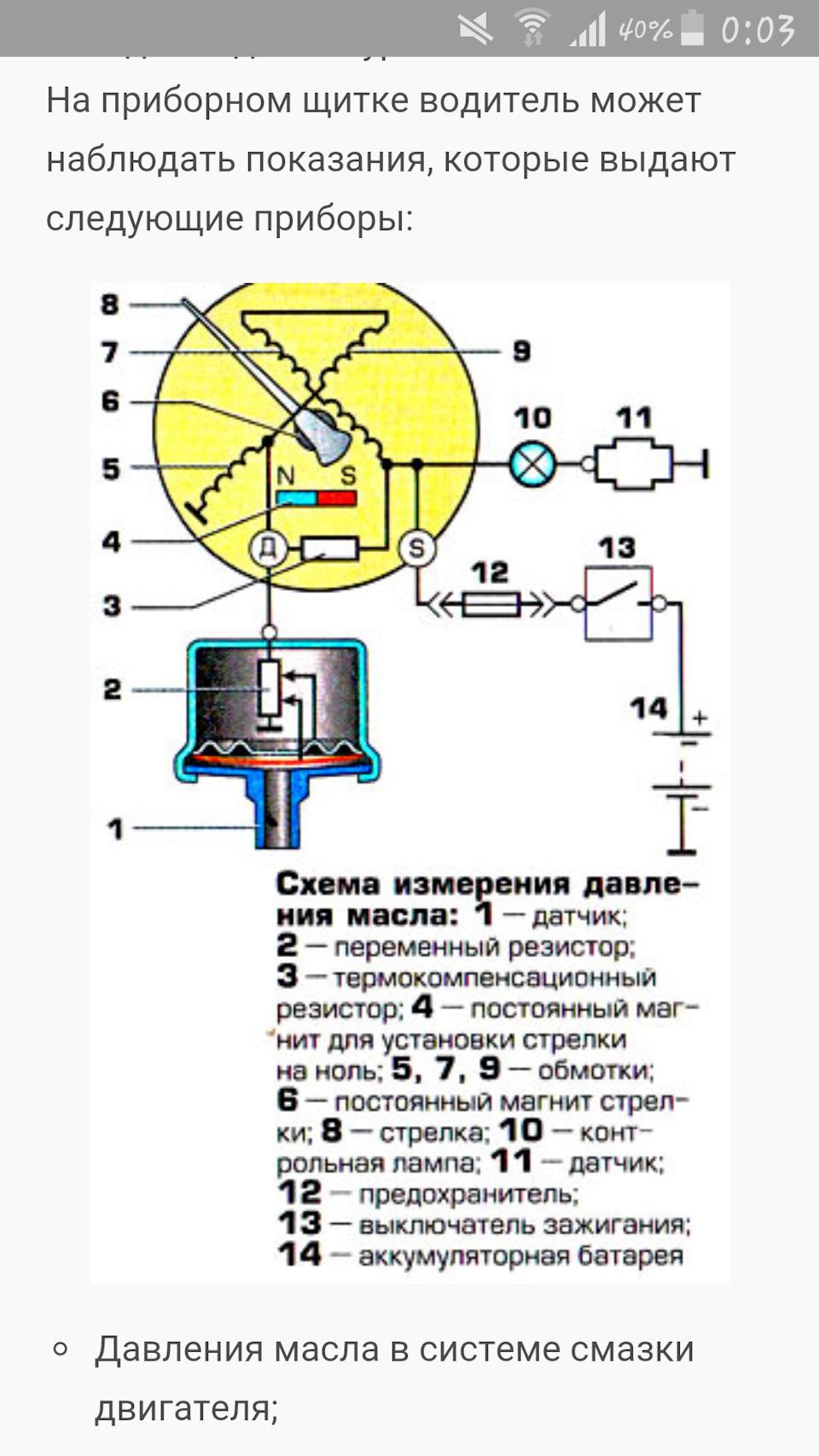 Схема датчика давления масла на приоре