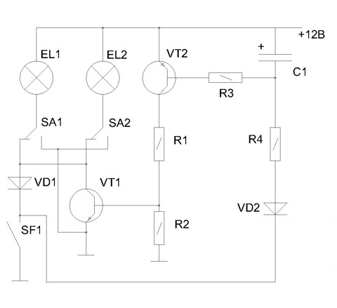 Всем привет.  Реализовал у себя плавное гашение света в салоне.  Эта схема подходит для плафонов ВАЗ 2106.