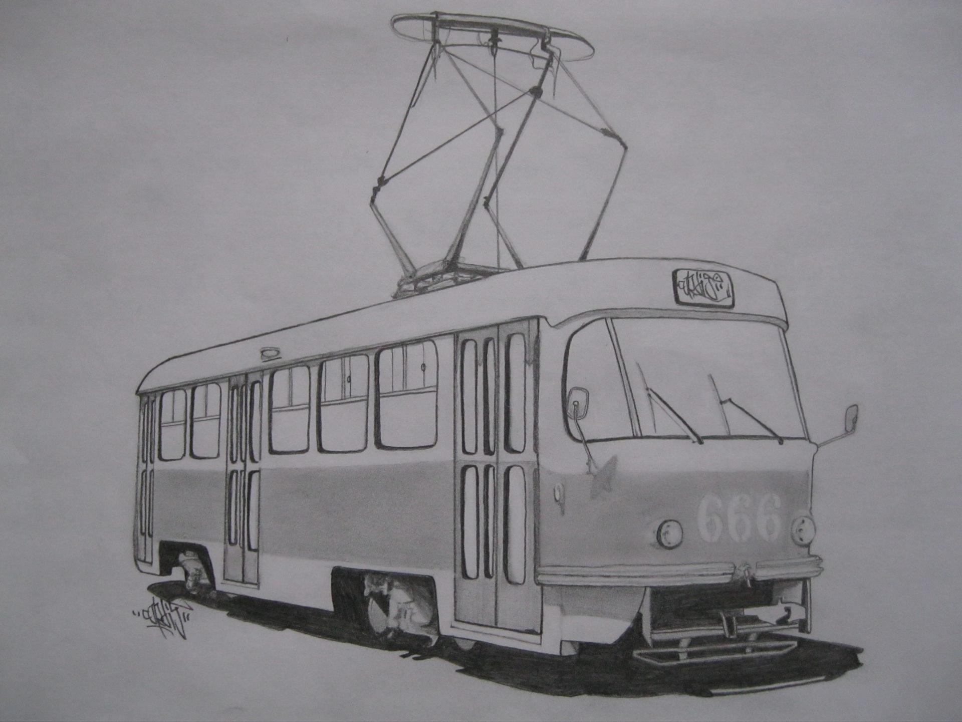 Трамвай рисунки для детей