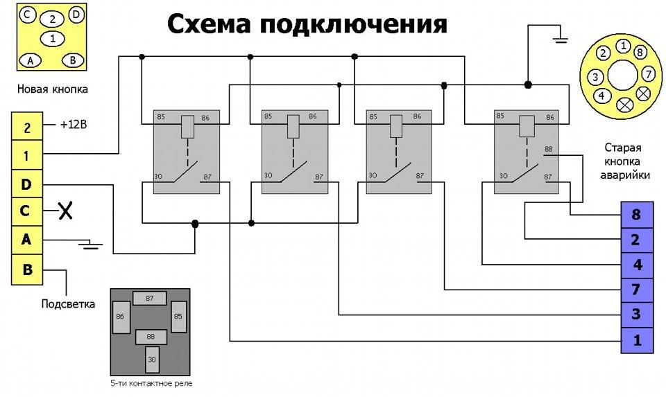 Схема подключения кнопок ваз