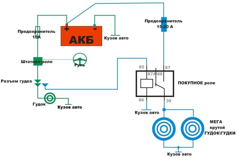 Схема воздушного сигнала через реле 35