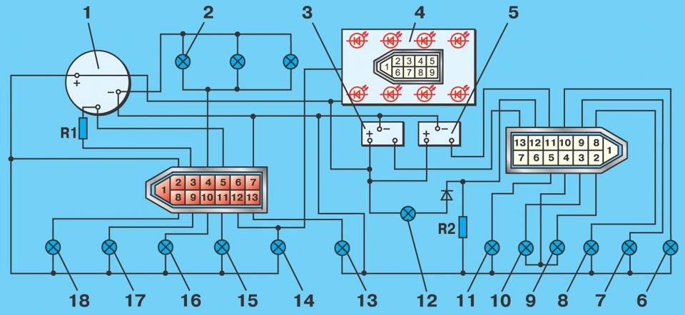 Есть две схемы панели приборов с высокой панелью. http://www.automnl.c...l/vaz_2108/285.