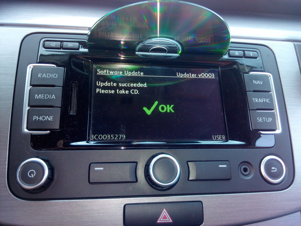 Updated firmware RNS-315 — logbook Volkswagen Passat Variant 2011 on