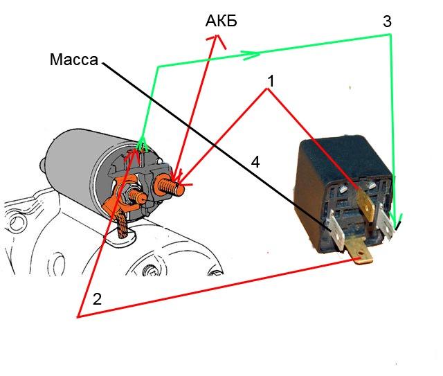 Схема подключения доп реле стартера фото 141